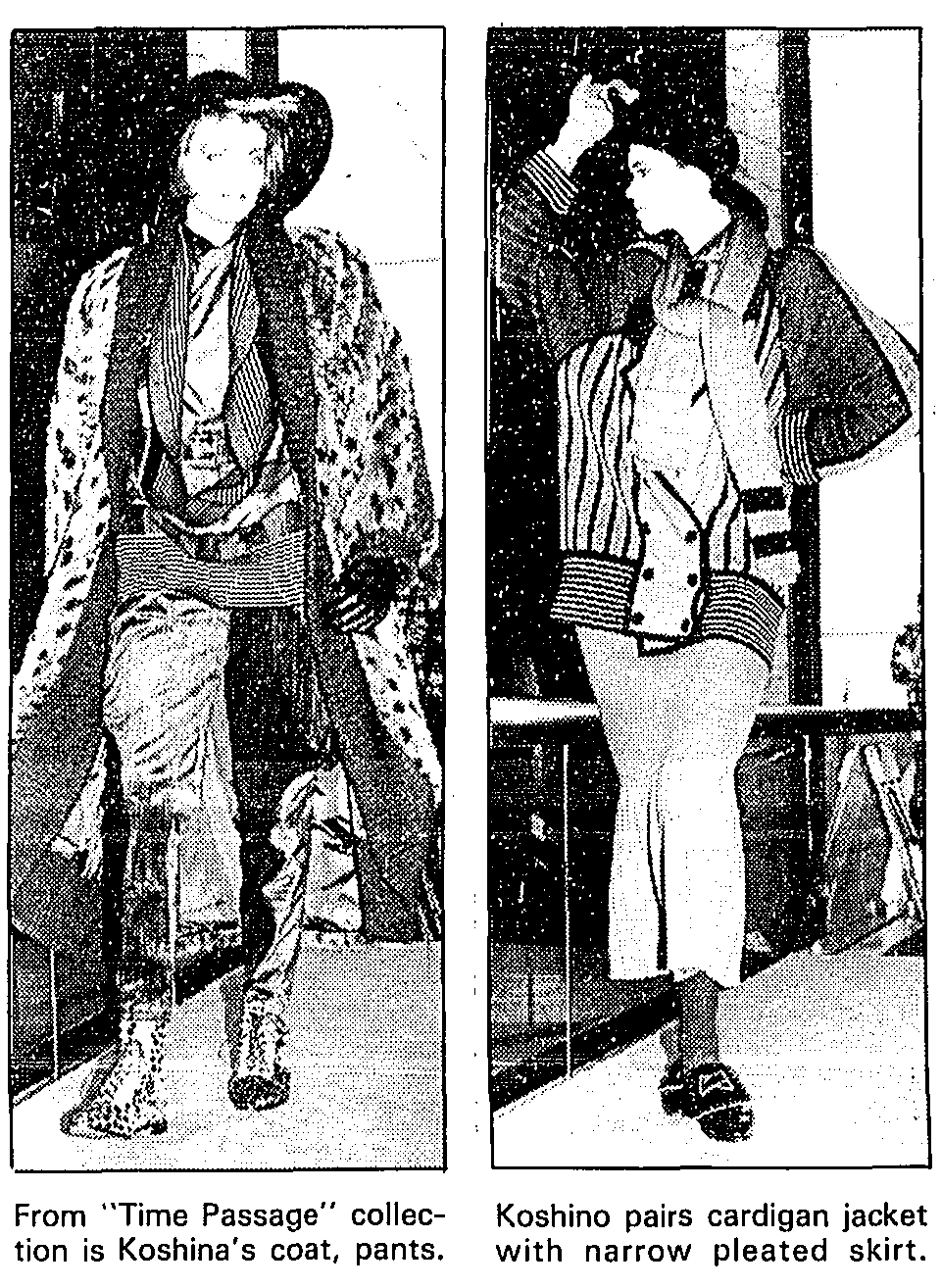 Two looks from Hiroko Koshino. Los Angeles Times, October 11, 1985.