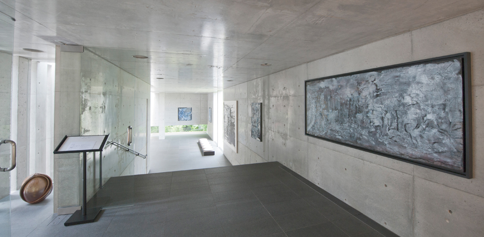 The gallery inside Koshino's former home, designed by Tadao Ando. -