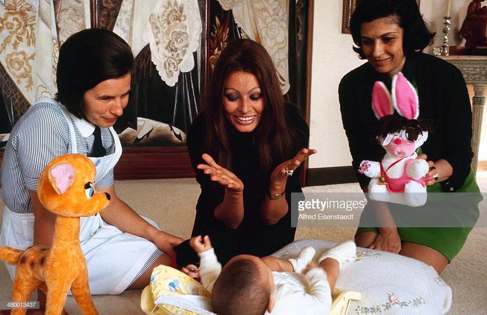 Sophia Loren and her new born son, Carlo Ponti, Jr -.jpg