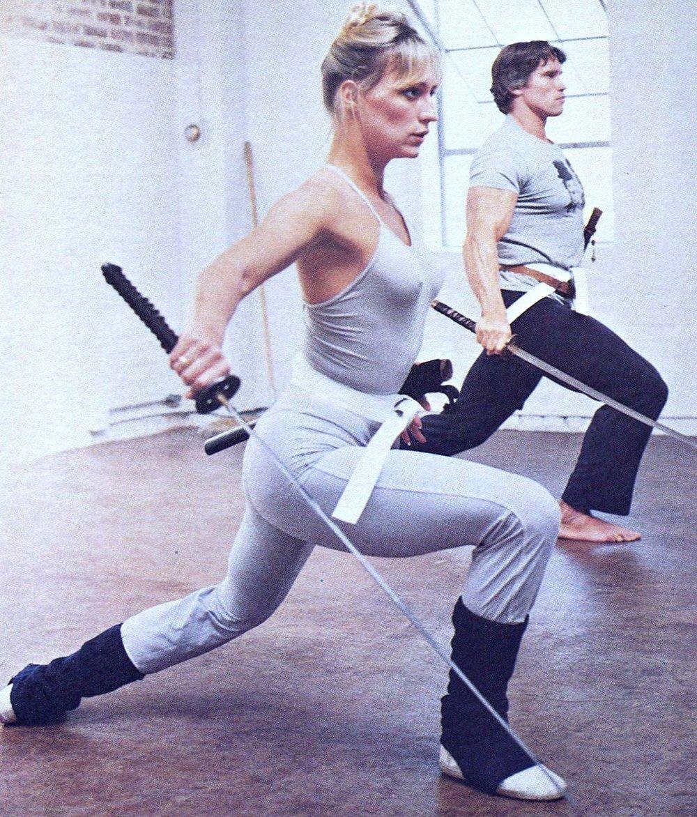 Sandahl Bergman and Arnold Training for %22Conan the Barbarian%22 (1982).jpg