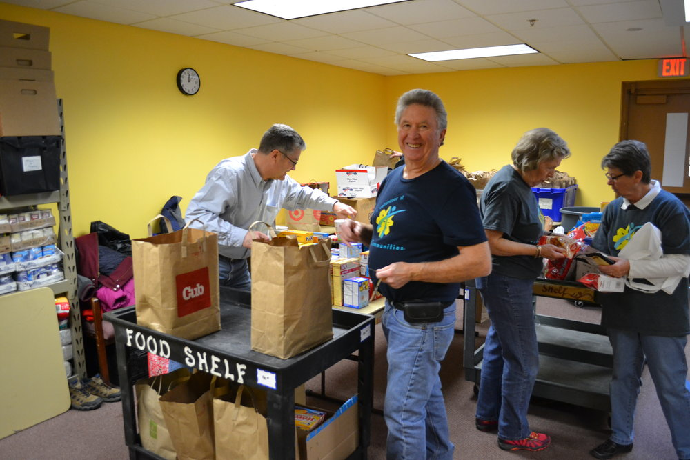 Volunteers operate the food shelf every Tuesday and Thursday