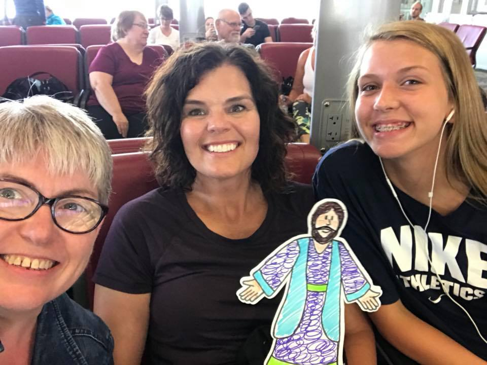Kirsten, Wendy with flat Jesus.jpg
