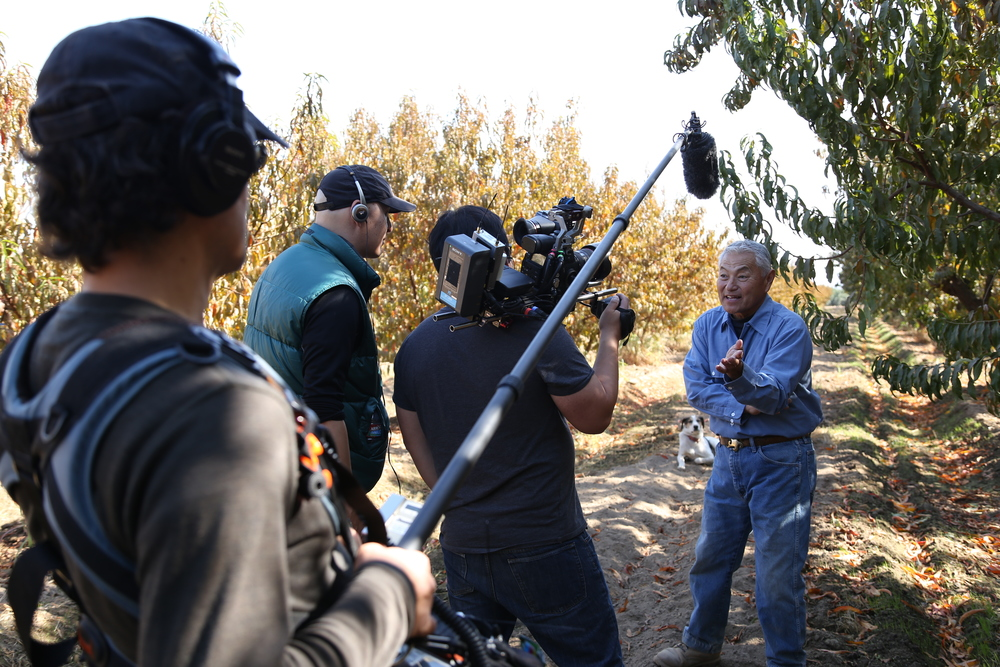 "Interviewing Mas Masumoto in his peach orchard for the documentary ""Changing Season"" (photo Alan Sanchez)"