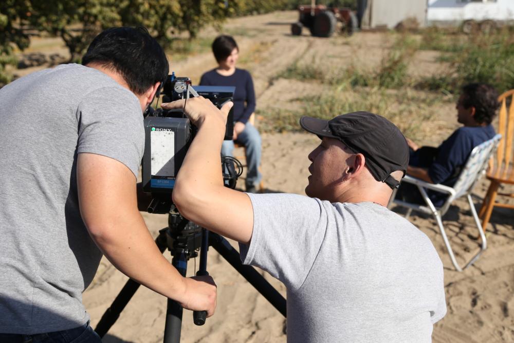 Preparing to interview Nikiko Masumoto on the family farm.Del Ray, California (photo Alan Sanchez)