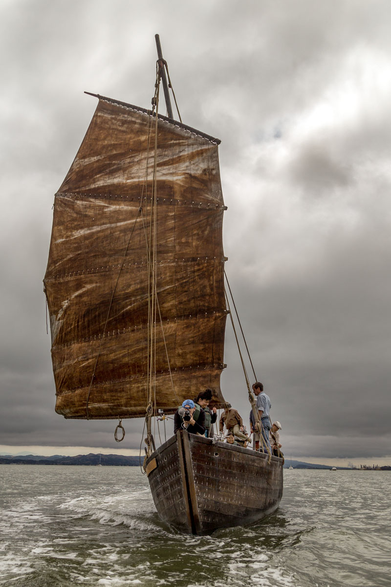 Filming on board the Grace Quan, a replica of a Chinese shrimping boat, for the installation BAY CHRONICLES (photo Jeff Kan Lee)