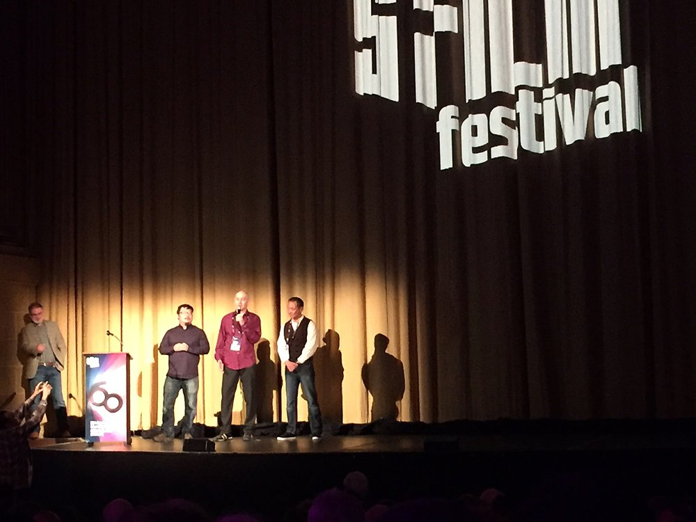 Onstage at the packed Castro Theater before the screening of Defender at the world premiere at San Francisco International Film Festival