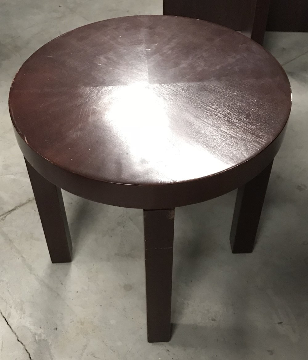 Round Dark Wood End Table
