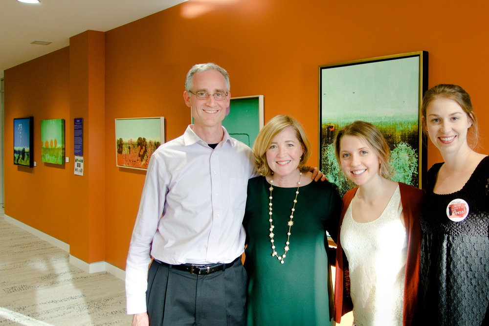 At the April 14 opening (left to right): Collider CEO James McMahon, artist Marjorie Brown Pierson, Collider office and events manager Leah Donatelli, and artist representative Jessica Coffield.