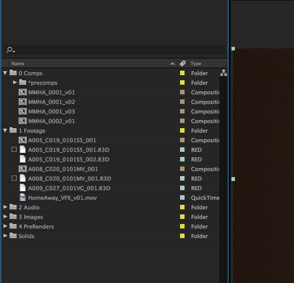 After Effects folder bin structure