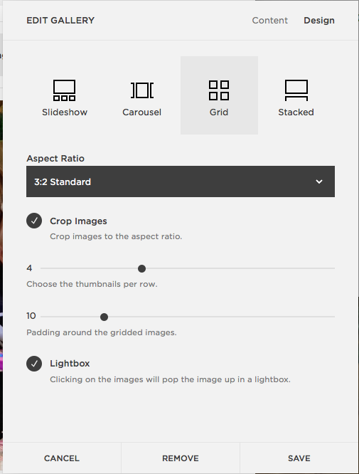 Click DESIGN tab in the top Right corner. Choose GRID, 3:2 Standard, Check Crop Images, change Padding to 10 and Check Lightbox.