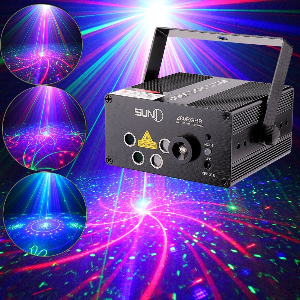 This laser has various colors and patterns and can be pointed out into the room or just on the dance floor.