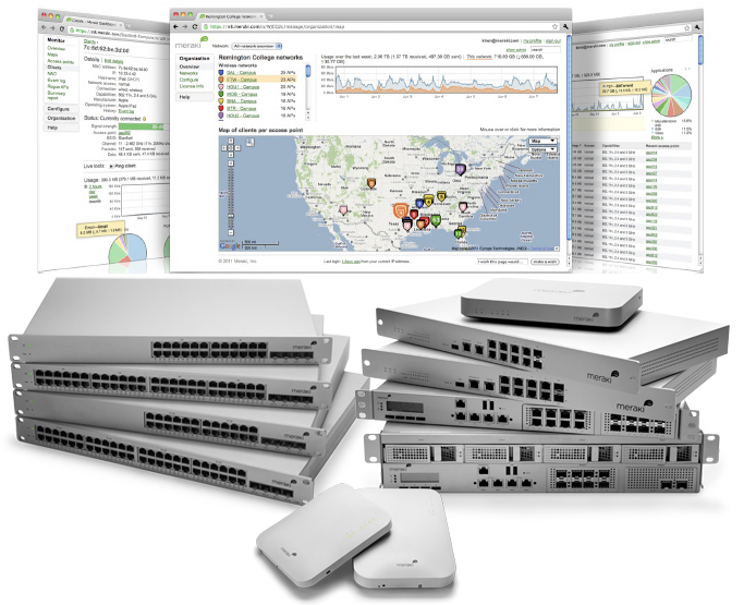 Meraki ships a wide variety of switches, routers, access points, and more - all managed through our Dashboard.