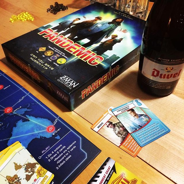 Saving the world, one beer at a time. #boardgames #pandemic #duvelbeer #belgianbeerkick