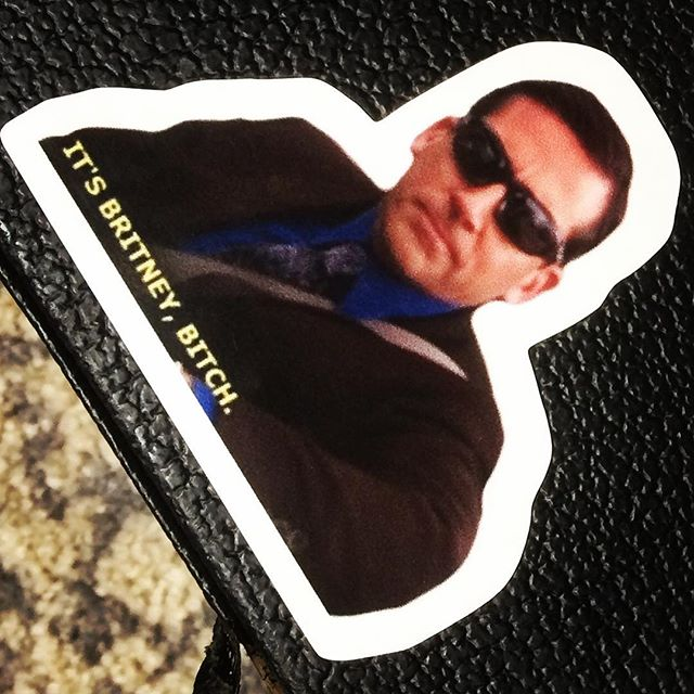 Got that new guitar case flare. #michaelscott #ballerasssticker #andimback