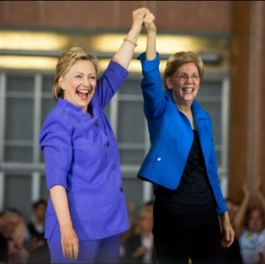 "Hillary Clinton and Massachusetts Senator Elizabeth Warren campaigned together in Ohio this week, Using the slogan ""Stronger Together."""