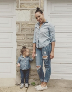 Dalina and her daughter rocking one of Mama Said's favorite trends: Mama-daughter matching!