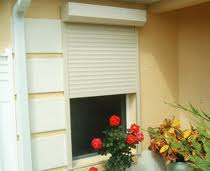 partially rolled down hurricane impact shutters