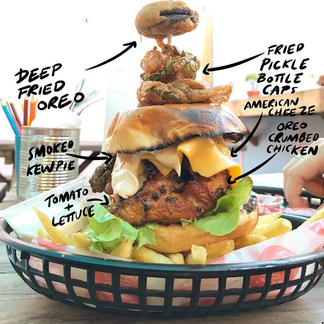 Our burgers are getting crazy. This is our kick ass Oreo Fried Chicken Burger 🍔