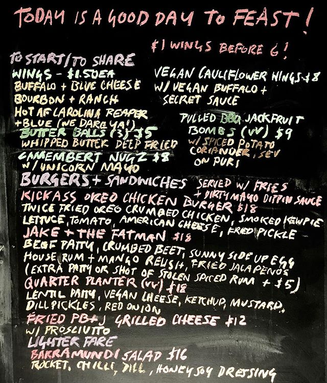 Tonite's menu! Oreo Chicken Burger is back, and we got a new deep fried PB&J Grilled Cheese w/ prosciutto that I can't fkn wait for! See y'all from 5p! 🚨