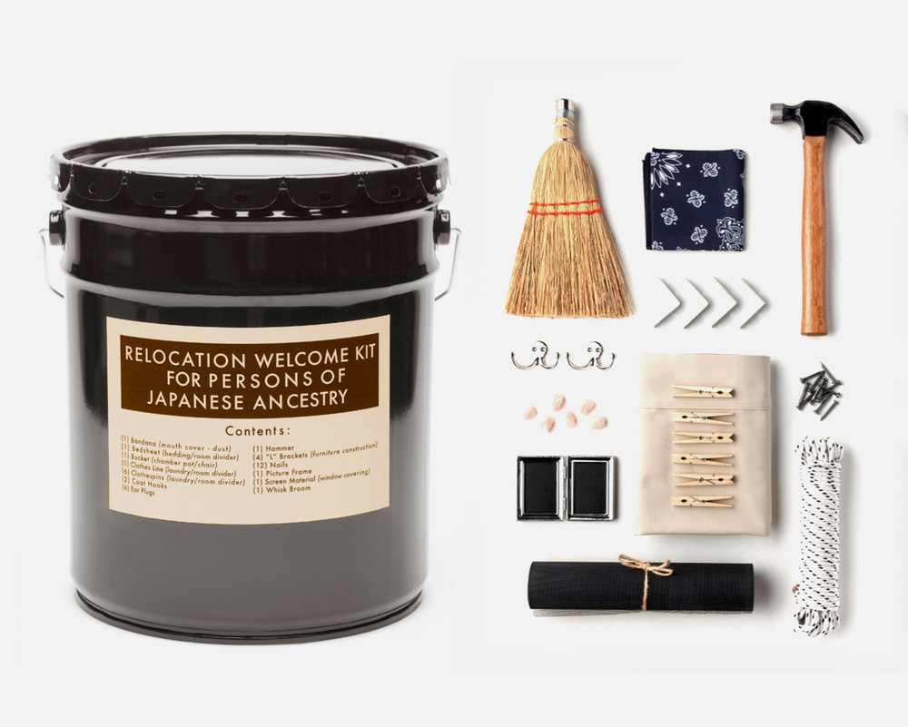 """Welcome Kit   , 2 016 Bucket, whisk broom, handkerchief, hammer, metal brackets, hooks, ear plugs, nails, clothespins, bedsheet, picture frame, rope, metal screen.   15x9""""    Welcome Kit  is a set of fictitious government-issued items for Japanese Americans entering incarceration camps in 1942. Each of the individual items would have been incredibly practical and useful for those about to spend years living in military style barracks with no insulation and little privacy. The items are held in a metal bucket, which would have served the dual purposes of seat and chamber pot."""