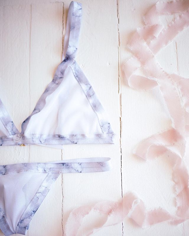 This sweet marble triangle set is a modern way to go bridal on your wedding night or honeymoon and still want to wear it for anniversaries to come. {no more 'bride' on your butt!}