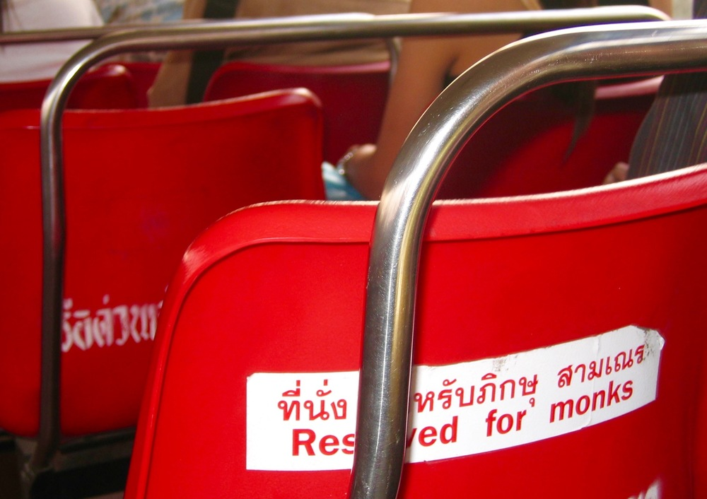 """Reserved for Monks"" sign on a local bus, Bangkok Thailand - 📸 Andrea Emmerich"