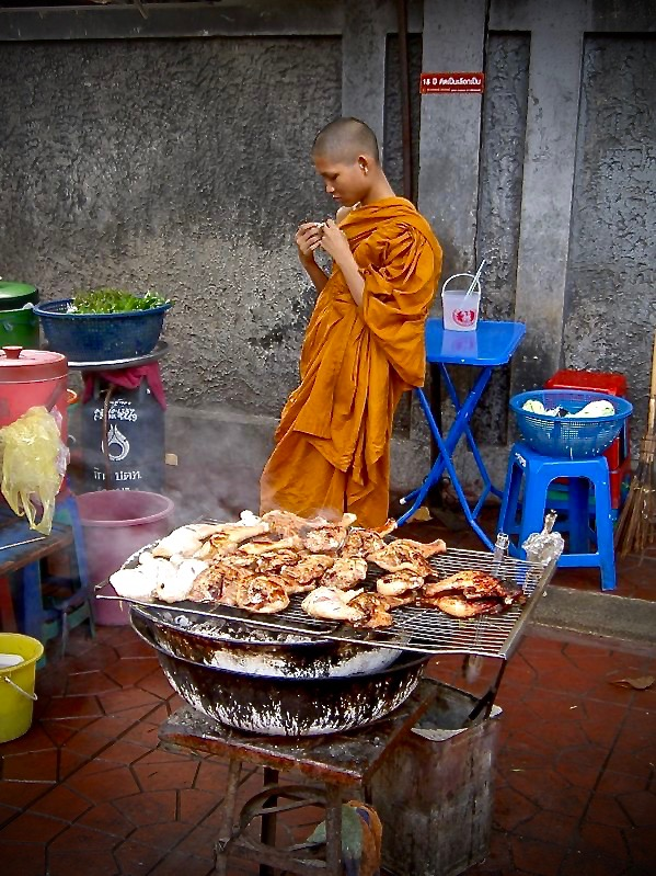 Monk waiting at a street food stand, Bangkok Thailand - 3 Days*