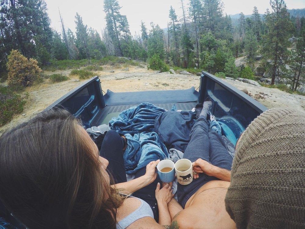 Aaron Medeiros and Juliana Salles enjoying their morning coffee in Zion National Park, Utah - 3 Days*
