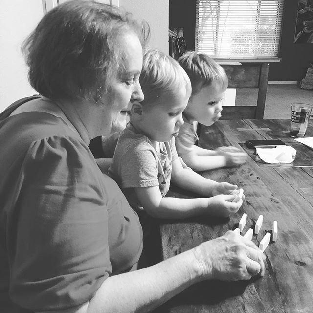 We love lazy weekend afternoons! Grandma teaching the godsons dominos!