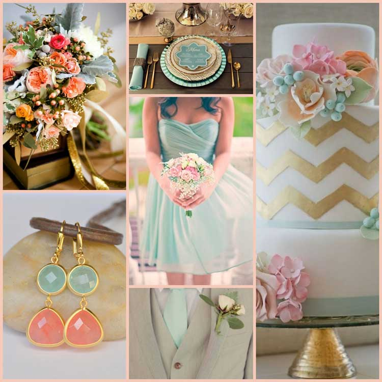 Coral, Gold and Mint mood board for your koozie's inspiration