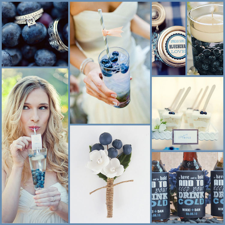 Stylish and tempting, blueberries and cream for your wedding koozies