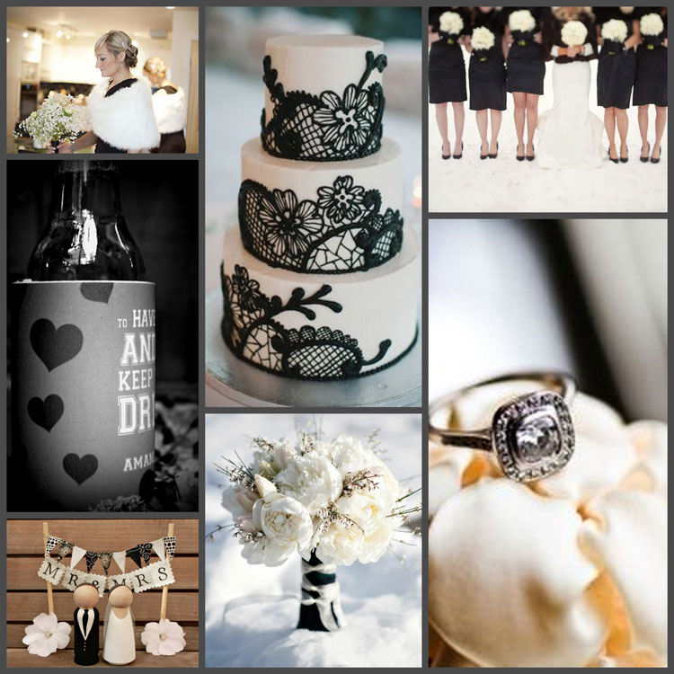 Black silver and white wedding color inspiration board