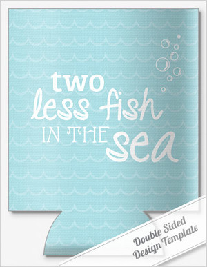 TWO LESS FISH\' SAYING WEDDING KOOZIES by personalizedpockets.com.com