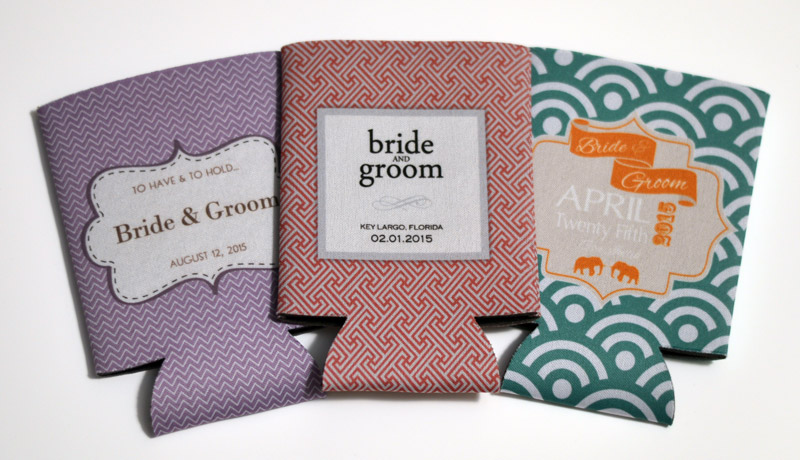 patterned wedding koozies