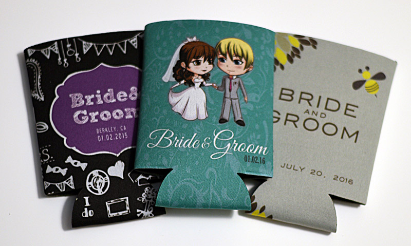 illustrated koozies make a fun and unique wedding favor for your guests