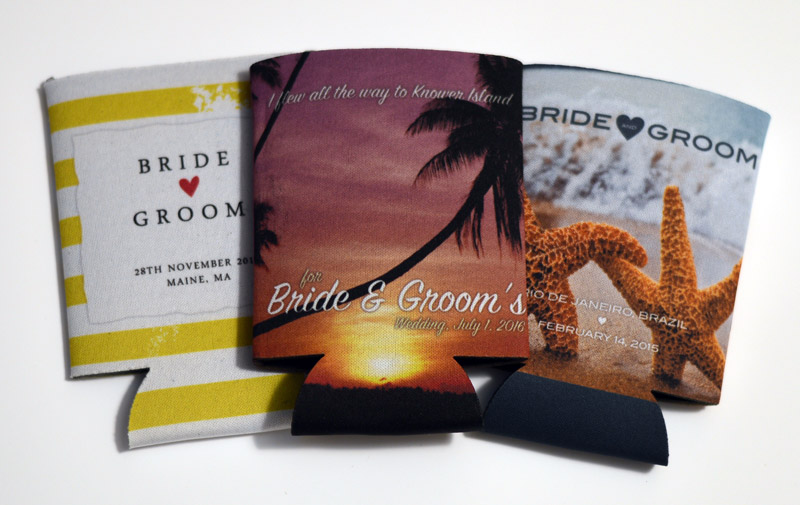 Just a few of our fantastic beach wedding koozie designs you can change...