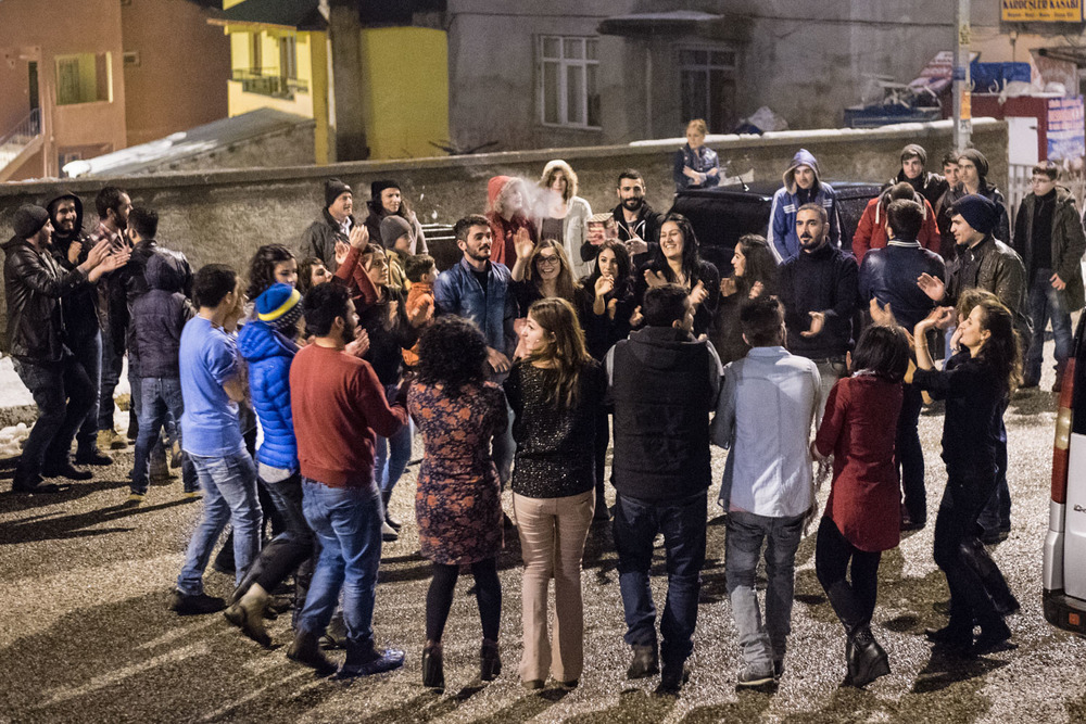 Dancing on the streets of Ovacik at midnight on New Year's Eve.