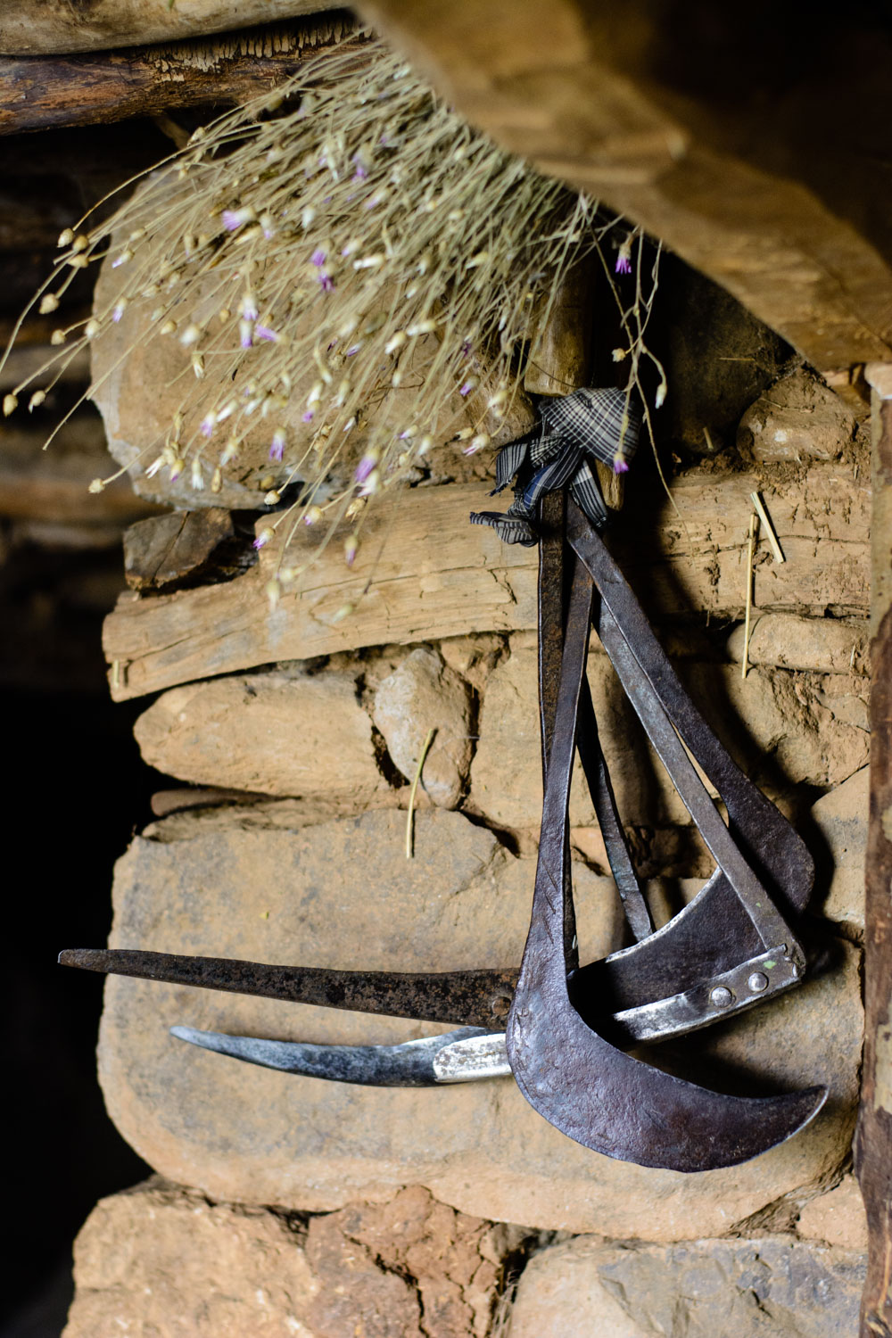 Tools in a barn.