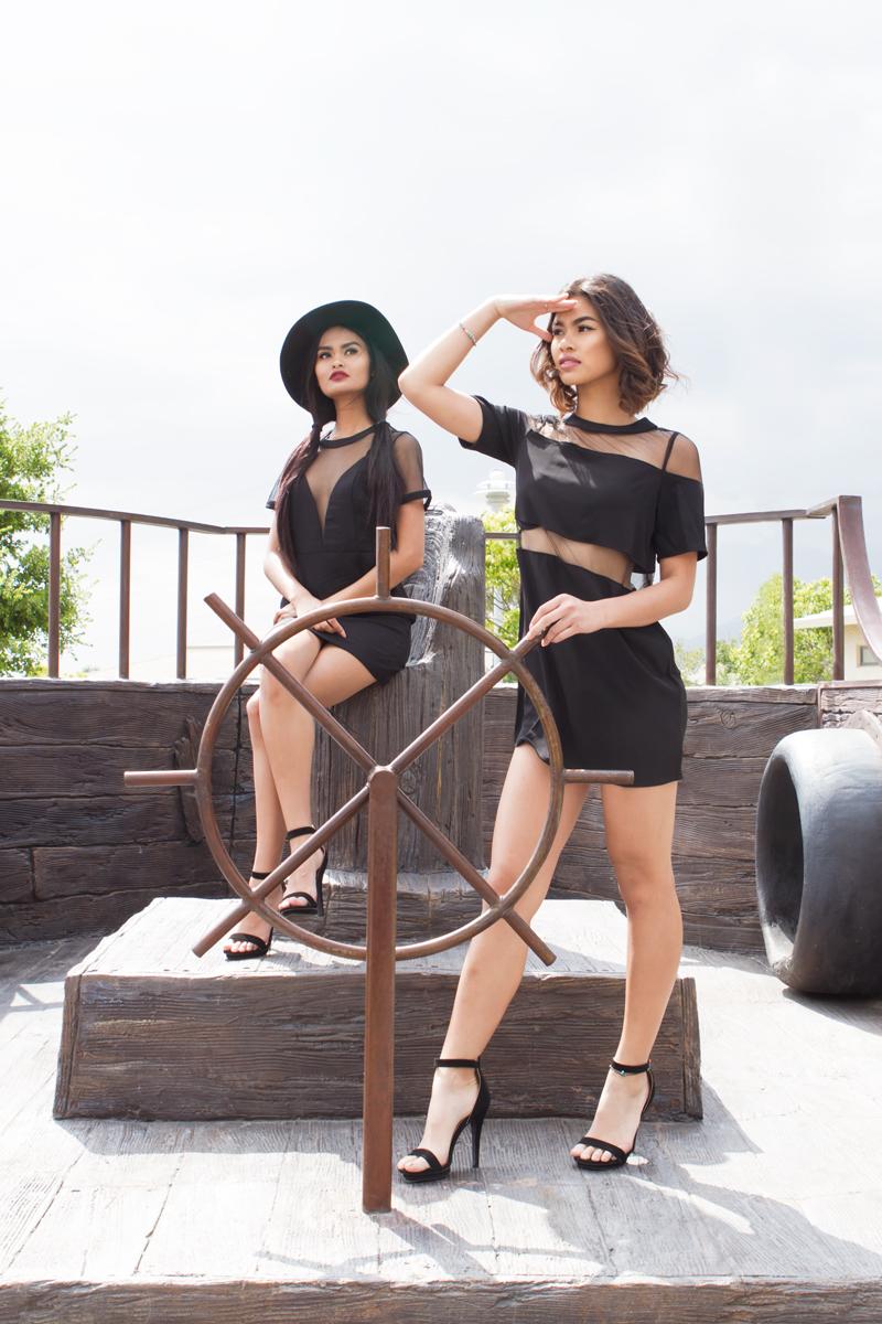 TOBI See Me Now Mesh Shift Dress | TOBI Mesmerized Mesh Shift Dress | Lola Shoetique Elite Affair Heels| F21 Wool-Blend Fedora |