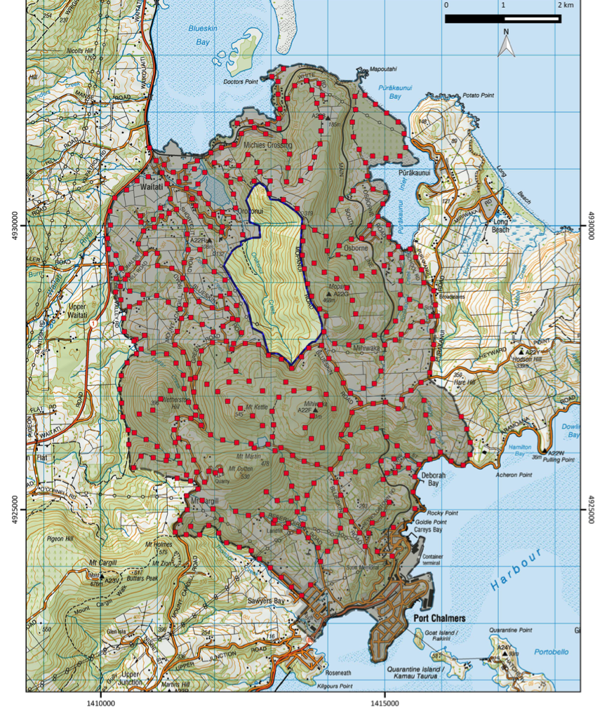 The Inner Halo area.  Red dots show the planned density of traps needed for stoats.  Actual trap locations will change, according to landowner participation.