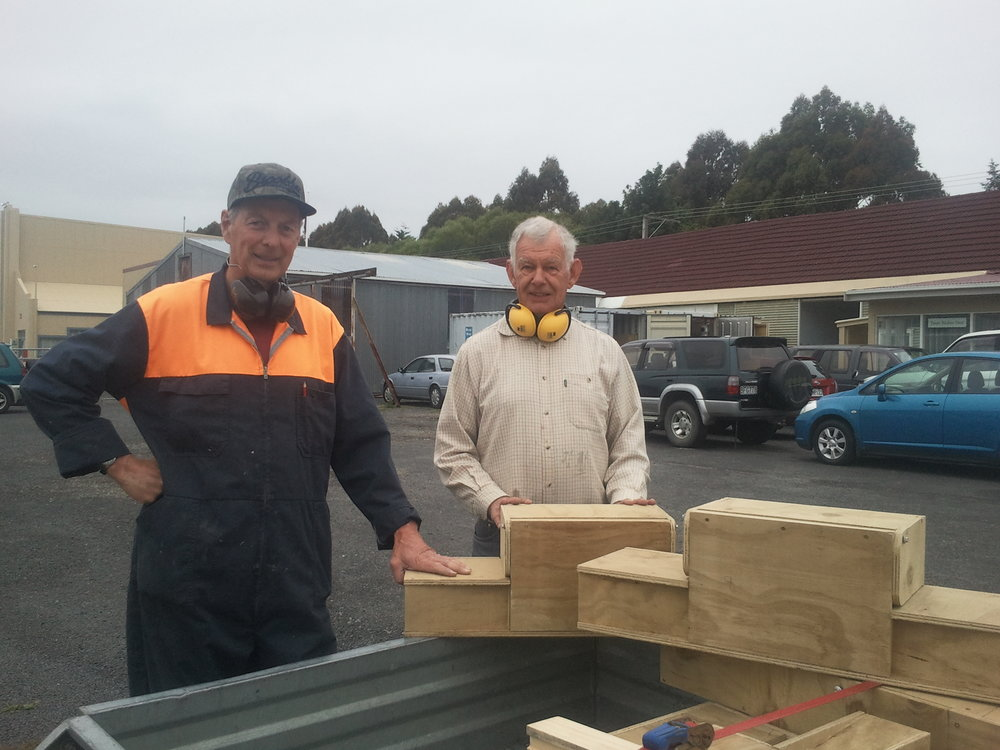 Nick and Bill with the stoat traps they made