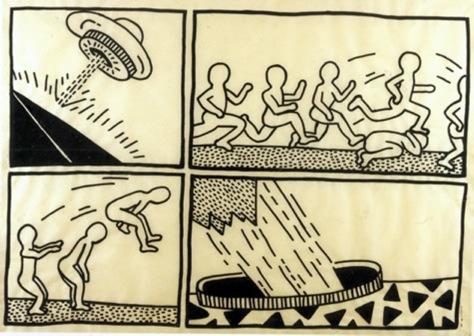 Untitled, 1981; Ink on vellum, 104 x 145 cm, Courtesy of Keith Haring Foundation
