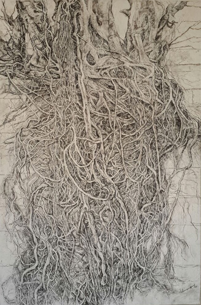 "Simrin Mehra Chawla, Entangled-III, Graphite, Conte, Chalk, Charcoal, Stucco on wood, 48"" x 72"", 2015"