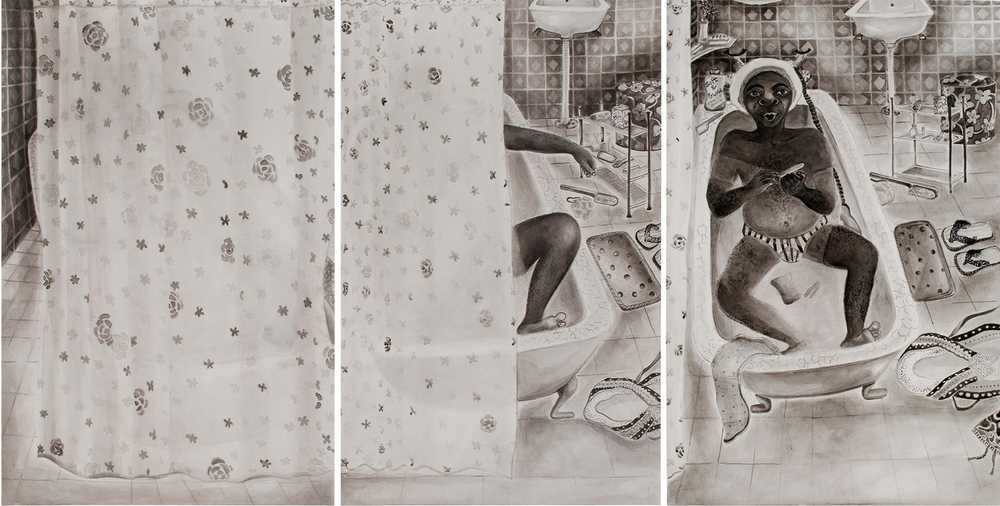 "Appropriation, Ink on paper, 49""x27"", 2013"