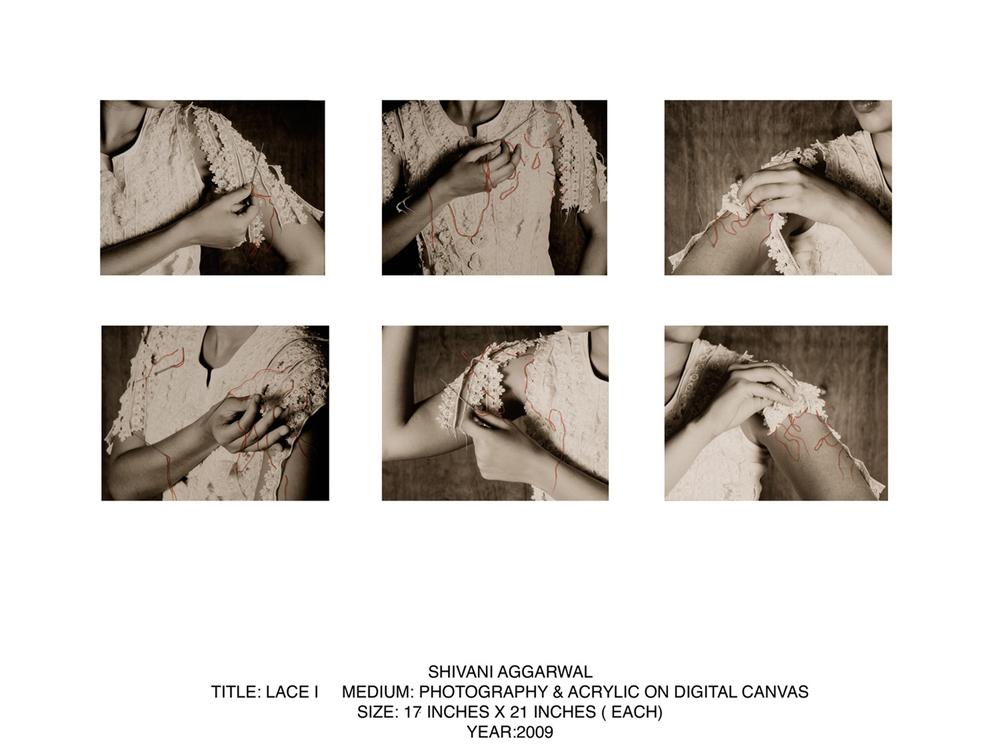 "Lace 1, Digital print & acrylic on canvas, 17""x21"", 2009"