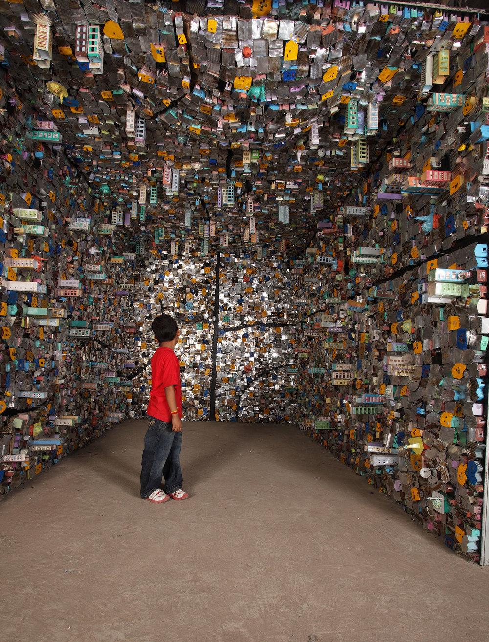 """Hema Upadhyay """"8x12"""", Aluminium sheets, car scrap, enamel paint, tarpaulin, metal, found objects"""