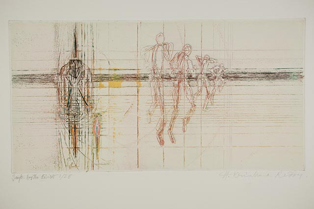 Krishna Reddy, 'Seated Figure and Runners', 1997. Image courtesy the artist and Experimenter.