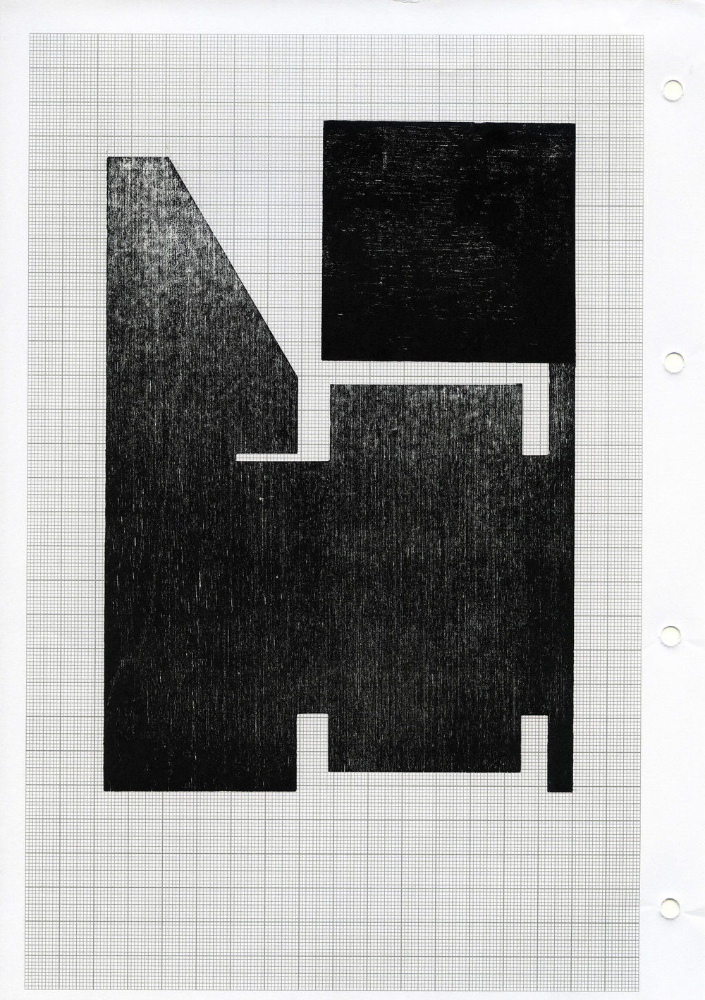 Seher Shah, 'Hewn (square on cut)', 2014, woodcut on A4 grid paper, monoprint, 29.7 x 21 cm. Image courtesy the artist and Nature Morte.