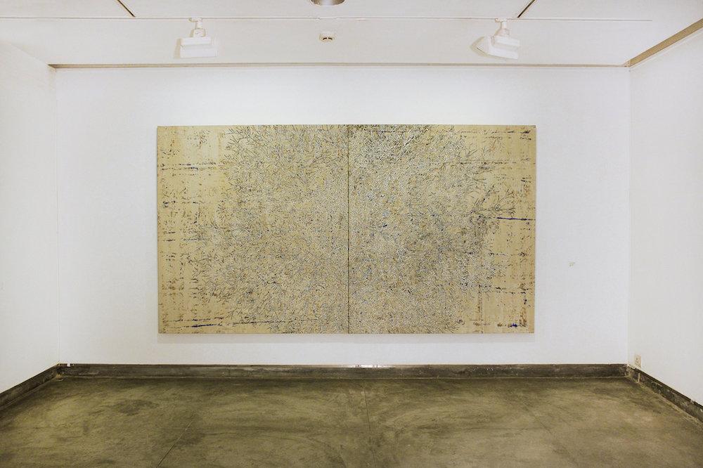 G R Iranna, 'Ethereal Tree', 2016, acrylic on tarpaulin, 60 x 132 in. Image courtesy Gallery Espace.