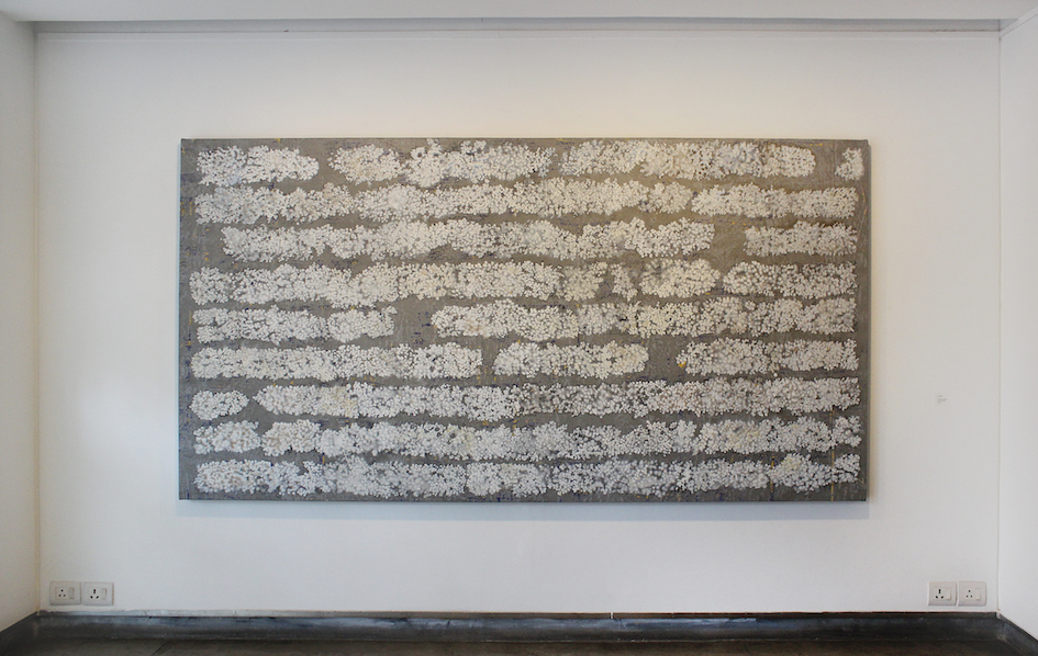 G R Iranna, 'Lofty Tree', 2016, acrylic on tarpaulin, 54 x 104 in. Image courtesy Gallery Espace.